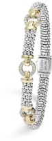 Lagos 18K Gold and Sterling Silver Caviar Rope Bracelet with Diamonds, 6mm