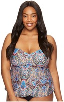 Jantzen Plus Size Vibrant Paisley Flutter Tankini Women's Swimwear