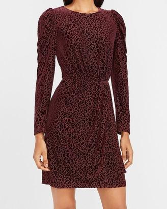 Express Velvet Leopard Puff Sleeve Dress