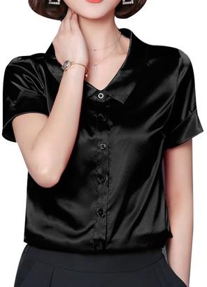 Yasong Women Silk Feel Short Sleeve Button Down Peter Pan Collar Satin T Shirt Blouse Grey 14