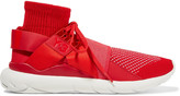 Y-3 +adidas Originals Qasa Elle leather-trimmed knitted sneakers