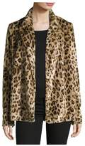 Theory Clairene Leopard Faux Fur Coat