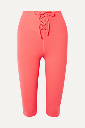 YEAR OF OURS Cameron Cropped Lace-up Stretch Leggings - Coral