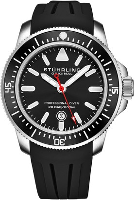 Stuhrling Original Men's Black Rubber Strap Watch