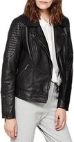 Mint Velvet Washed Biker Jacket, Black