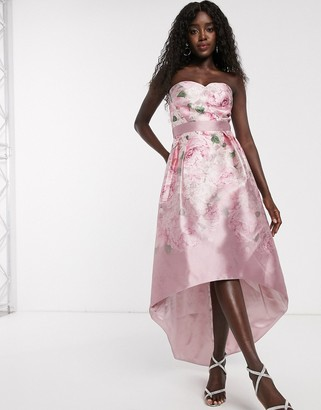 Chi Chi London satin midi dress with extreme high low in ombre rose print-Pink