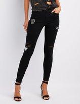 Charlotte Russe Refuge Embellished Skinny Destroyed Jeans