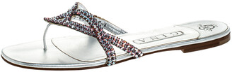 Gina Metallic Pink Crystal Embellished Leather Thong Flats Size 39