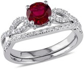 Allura 1.01 Count. T.W. Created Ruby and 1/6 Count. T.W. Diamond Infinity Bridal Ring Set in 10k White Gold