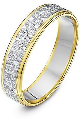 Theia Unisex 9 ct White and Yellow Gold Heavy Flat Diamond Cut 5 mm Wedding Ring, Size M