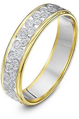 Theia Unisex 9 ct White and Yellow Gold Heavy Flat Diamond Cut 5 mm Wedding Ring, Size U