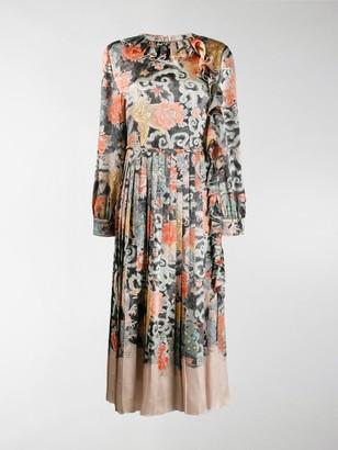 Valentino Oriental Print Satin Dress