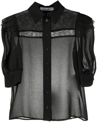 See by Chloe Floral Lace Panel Sheer Shirt