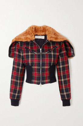 Dries Van Noten Faux Fur And Leather-trimmed Checked Wool Jacket - Red
