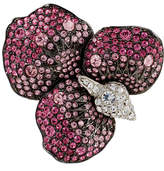 Kenneth Jay Lane Gunmetal and Silver-Plated Pink Flower Brooch