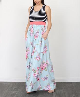 Egs By Eloges egs by eloges Women's Maxi Dresses NAVY - Navy & Blue Floral & Stripe Sleeveless Maxi Dress - Women & Plus