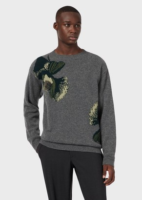Emporio Armani Virgin-Wool, Plain-Knit Sweater With Jacquard Floral Motif
