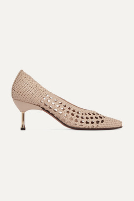 Souliers Martinez Murcia Woven Leather Pumps - Cream