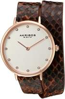 Akribos XXIV AK923RGBR Women's Quartz Metal and Leather Automatic Watch, Brown