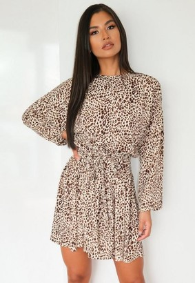 Missguided Leopard Print Plait Belt Smock Dress