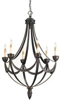 The Well Appointed House Wrought Iron and Wood Swag Chandelier