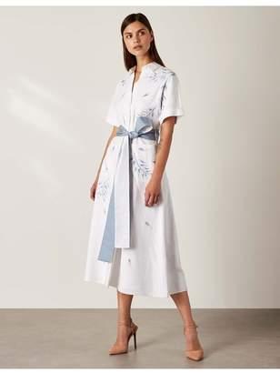 Varana World Embroidered Linen Shirt Dress