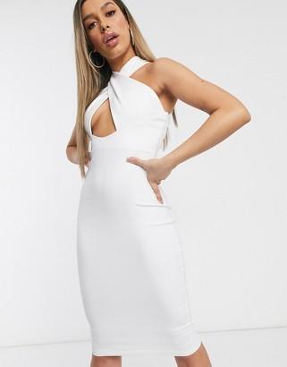 Vesper cross neck midi dress in white