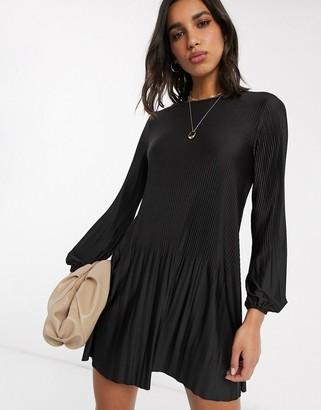 Stradivarius pleated dress in black