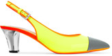 Moschino Neon glossed-leather slingback pumps