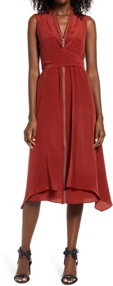 AllSaints Jayda Exposed Zip Sleeveless Silk Dress