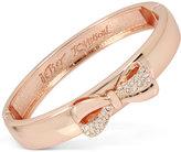 Betsey Johnson Rose Gold-Tone Pavé Bow Bangle Bracelet