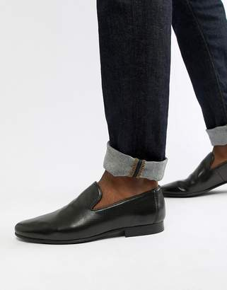 Walk London Study texture loafers in black leather