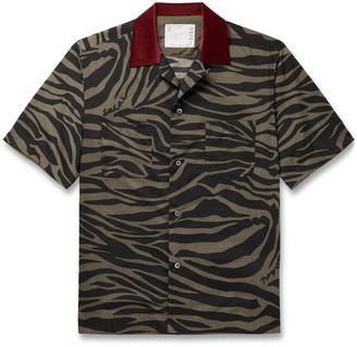Sacai Camp-Collar Velvet-Trimmed Printed Voile Shirt - Men