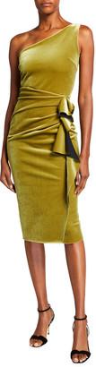 Chiara Boni One-Shoulder Ruched Velvet Dress with Side Ruffle