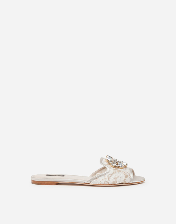 Dolce & Gabbana Slippers In Lace With Crystals