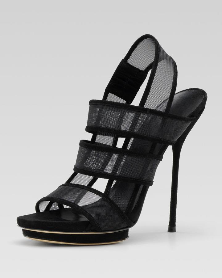 Gucci Bette High-Heel Platform Sandal, Black or Powder