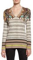 Etro Paisley-Shoulder Long-Sleeve V-Neck Tee, Orange/Black
