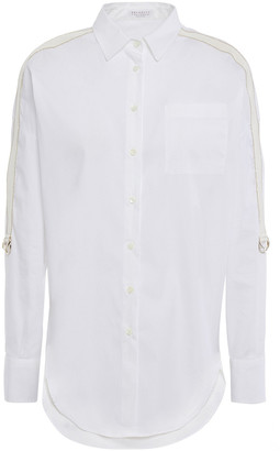 Brunello Cucinelli Grosgrain-trimmed Bead-embellished Cotton-blend Poplin Shirt