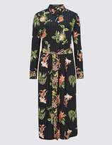 Marks and Spencer Floral Print Long Sleeve Shirt Midi Dress