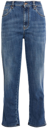 Brunello Cucinelli Bead-embellished Faded High-rise Straight-leg Jeans