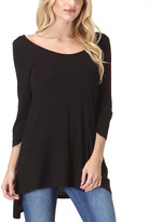 Bellino Black Scoop Neck Sidetail Top