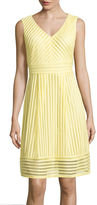 Studio 1 Sleeveless Stripe Mesh Fit-and-Flare Dress