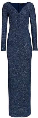 St. John Sequin Knit V-Neck Column Gown