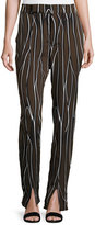 Marni Trellis-Print Split-Hem Pants, Black/Brown