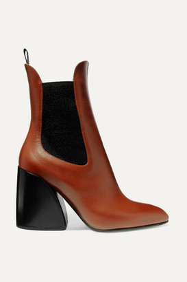 Chloé Wave Leather Ankle Boots - Tan