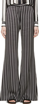 Balmain Black & White Striped Flared Trousers