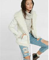 Express ivory shearling moto jacket