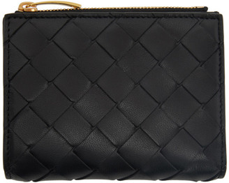 Bottega Veneta Black Intrecciato Zip Bifold Wallet