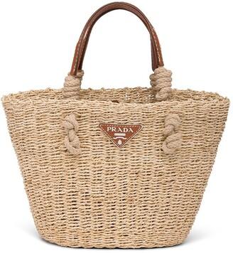 Prada Woven Raffia Tote Bag