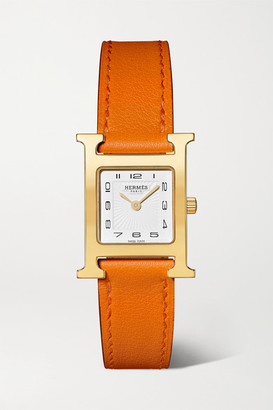 HERMÈS TIMEPIECES Heure H 21mm Small Gold-plated And Leather Watch - Orange
